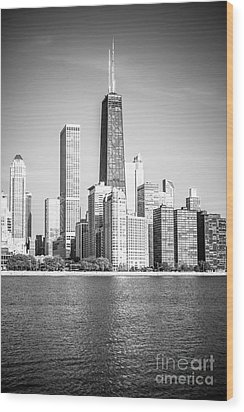 Chicago Hancock Building Black And White Picture Wood Print by Paul Velgos