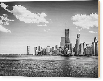 Chicago Lakefront Skyline Black And White Picture Wood Print by Paul Velgos