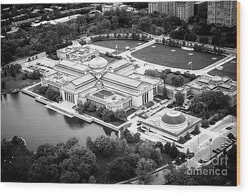 Chicago Museum Of Science And Industry Aerial View Wood Print by Paul Velgos