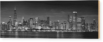 Chicago Skyline At Night Black And White Wood Print by Jon Holiday