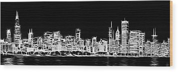 Chicago Skyline Fractal Black And White Wood Print by Adam Romanowicz