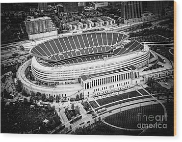 Chicago Soldier Field Aerial Picture In Black And White Wood Print by Paul Velgos