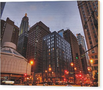 Chicago - Wabash And Wacker 001 Wood Print by Lance Vaughn