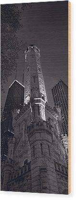 Chicago Water Tower Panorama B W Wood Print by Steve Gadomski
