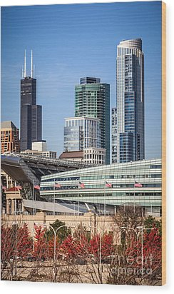 Chicago With Soldier Field And Sears Tower Wood Print by Paul Velgos