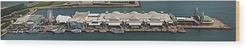 Chicago's Navy Pier Aerial Panoramic Wood Print by Adam Romanowicz