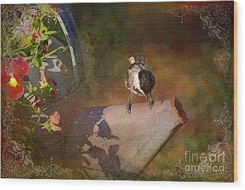 Chickadee Flower Pot Wood Print by Debbie Portwood