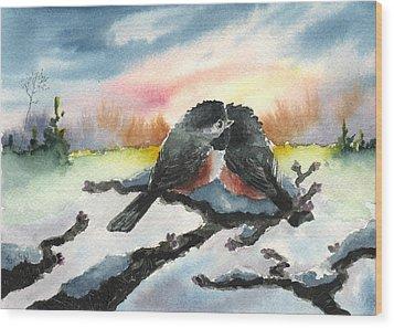 Chickadee Sunset Snuggle Wood Print by Sean Seal