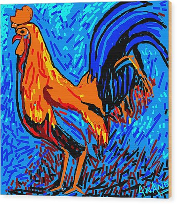 Chicken-5 Wood Print by Anand Swaroop Manchiraju