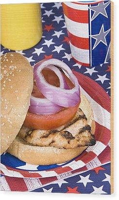 Chicken Burger On Fourth Of July Wood Print by Joe Belanger