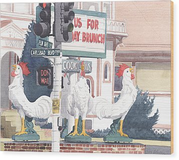 Chickens At Twin Inns Carlsbad Wood Print by Mary Helmreich