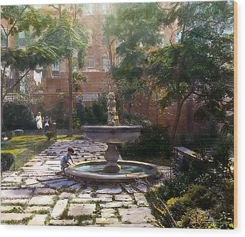 Child And Fountain Wood Print by Terry Reynoldson