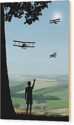Childhood Dreams The Flypast Wood Print by John Edwards