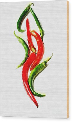 Chili Papers Of Various Shapes Painting Wood Print by Magomed Magomedagaev