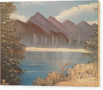 Chilly Mountain Lake Wood Print by Tim Blankenship