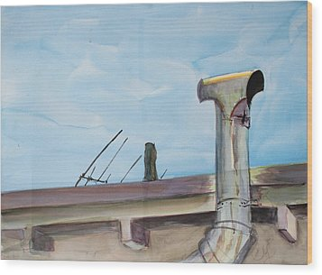 Chimney Pipe And Berkeley Sky Wood Print by Asha Carolyn Young