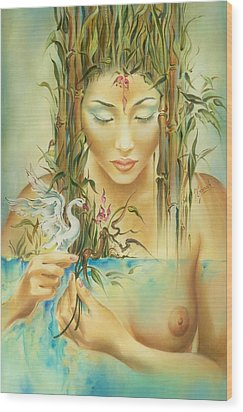 Chinese Fairytale Wood Print by Anna Ewa Miarczynska