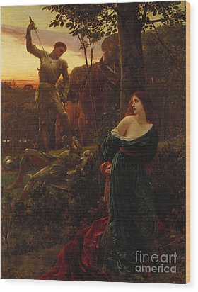 Chivalry Wood Print by Sir Frank Dicksee