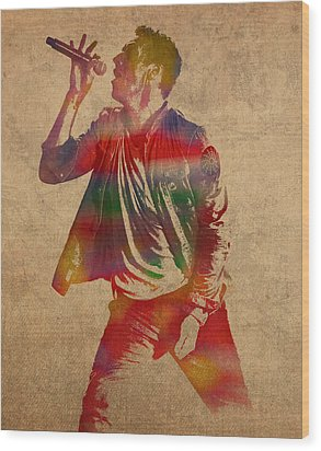 Chris Martin Coldplay Watercolor Portrait On Worn Distressed Canvas Wood Print by Design Turnpike