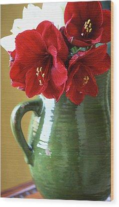 Christmas Amaryllis Wood Print by Kathy Yates