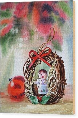 Christmas Angel Wood Print by Irina Sztukowski