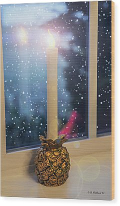 Christmas Candle Wood Print by Brian Wallace