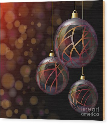 Christmas Glass Baubles Wood Print by Jane Rix