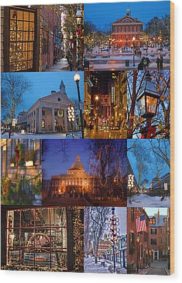 Christmas In Boston Wood Print by Joann Vitali