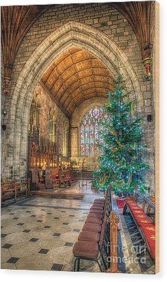 Christmas Tree Wood Print by Adrian Evans