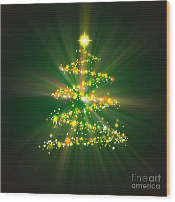 Christmas Tree Wood Print by Atiketta Sangasaeng