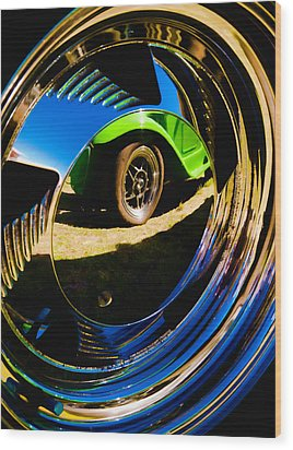 Chrome Hubcap Wood Print by Phil 'motography' Clark