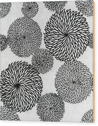 Chrysanthemums Wood Print by Japanese School