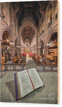Church Bible Wood Print by Adrian Evans