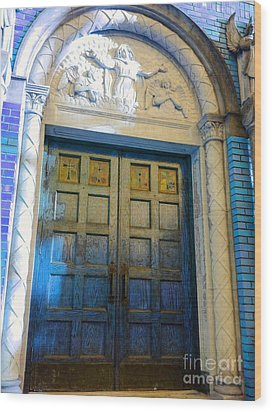Church Door II Wood Print by Becky Lupe