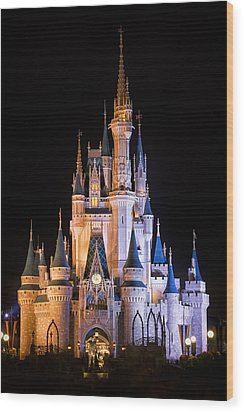 Cinderella's Castle In Magic Kingdom Wood Print by Adam Romanowicz