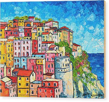 Cinque Terre Italy Manarola Colorful Houses  Wood Print by Ana Maria Edulescu