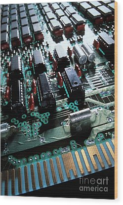 Circuit Board Wood Print by Jerry McElroy