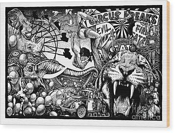 Circus Breaks Wood Print by Matthew Ridgway