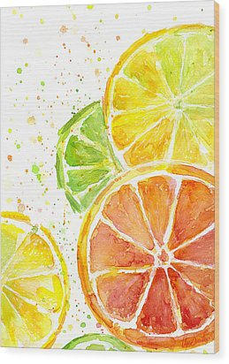 Citrus Fruit Watercolor Wood Print by Olga Shvartsur