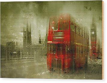 City-art London Red Buses Wood Print by Melanie Viola