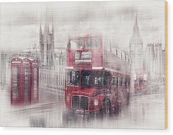 City-art London Westminster Collage II Wood Print by Melanie Viola
