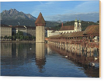 City Of Lucerne In Switzerland Wood Print by Ron Sumners