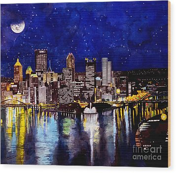 City Of Pittsburgh At The Point Wood Print by Christopher Shellhammer