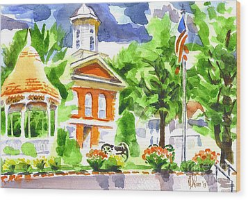 City Square In Watercolor Wood Print by Kip DeVore