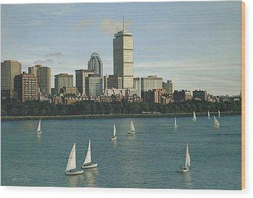 City View Sail Wood Print by Julia O'Malley-Keyes