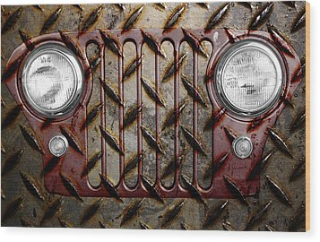 Civilian Jeep- Maroon Wood Print by Luke Moore