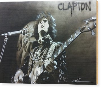 Eric Clapton - ' Clapton ' Wood Print by Christian Chapman Art