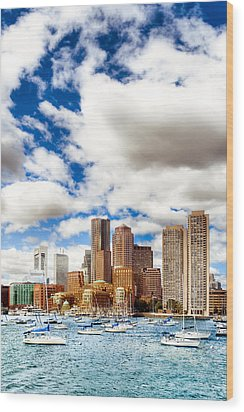 Classic Boston Skyline From The Water Wood Print by Mark E Tisdale