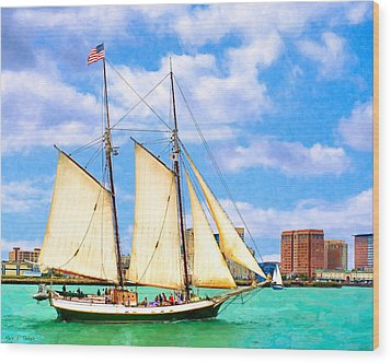 Classic Tall Ship In Boston Harbor Wood Print by Mark E Tisdale