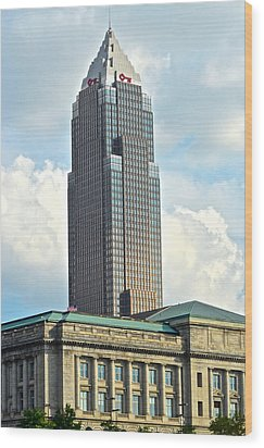 Cleveland Key Bank Building Wood Print by Frozen in Time Fine Art Photography